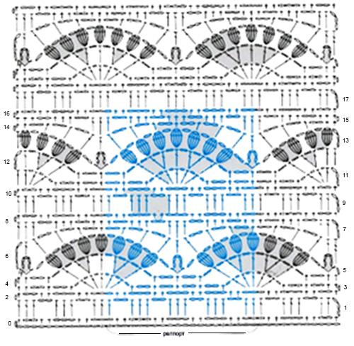 схема узора арочки с пышными столбиками